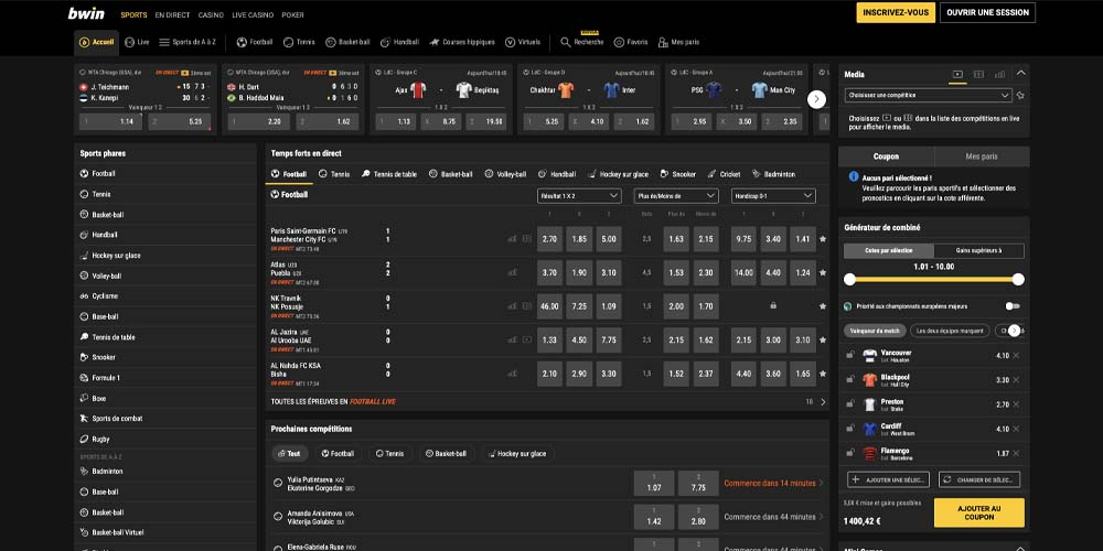 screenshot bwin interface