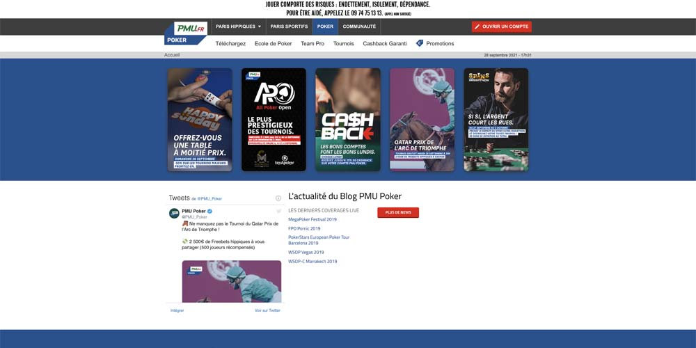 screenshot pmu poker interface