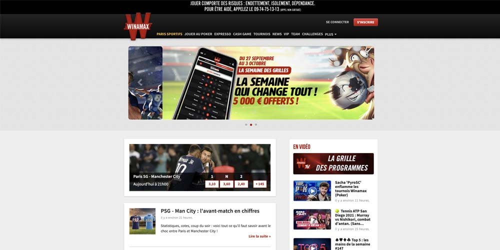 screenshot winamax interface